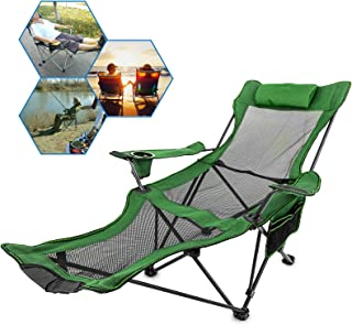 Happybuy Folding Camp Chair with Footrest Mesh Lounge Chair with Cup Holder and Storage Bag Reclining Folding Camp Chair for Camping Fishing and Other Outdoor Activities (Green)
