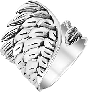 Religious Angel Wing Feather Bypass Band Ring for Men for Women Oxidized Silver Tone Stainless Steel