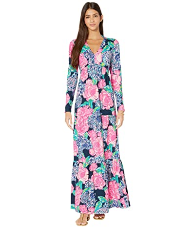 Lilly Pulitzer Martinique Maxi Dress (High Tide Navy Hey Hey Bouquet) Women