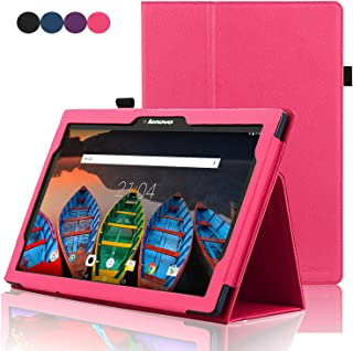 ACdream Lenovo Tab 2 A10 & Lenovo Tab3 10 Business Case, Folio Leather Cover Case for Lenovo Tab2 A10-70/Tab2 A10-30/TAB-X103F Tab 10/Tab3 10 Business Tablet, Hot Pink