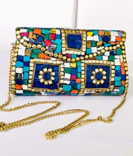 EthnicGold-Multicolour Stone studded Metal Clutch/Crossbody bag