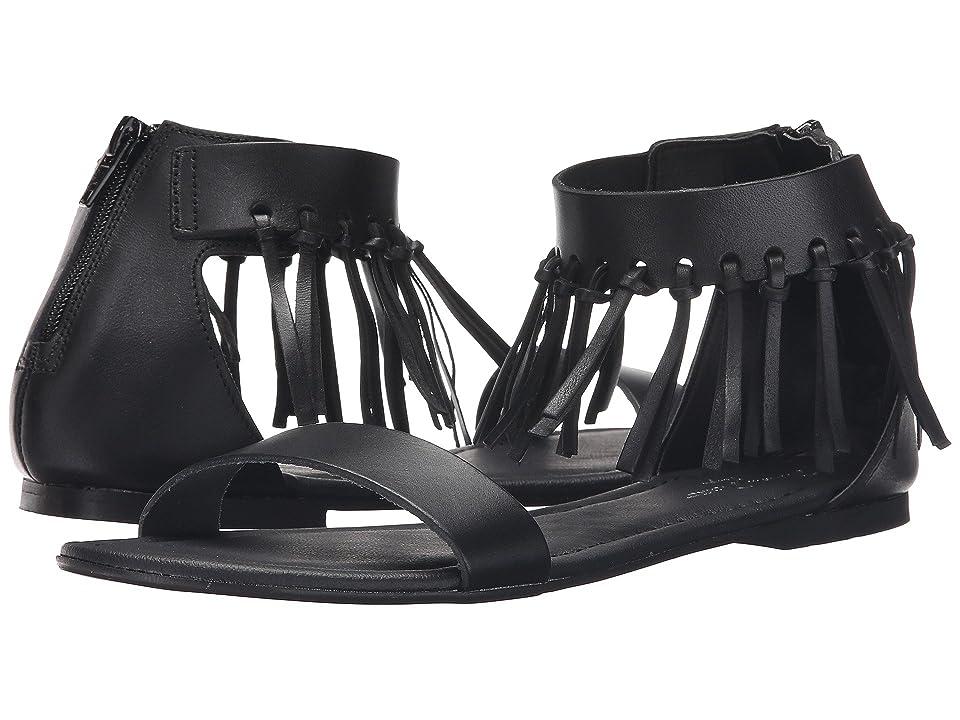 Massimo Matteo Ankle Strap Fringe Sandal (Black) Women