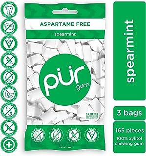 PUR 100% Xylitol Chewing Gum, Sugarless Spearmint, Aspartame Free & Sugar free, Vegan - Freshens Breath, Teeth Whitening &...