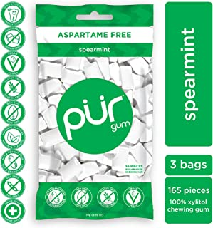 PUR 100% Xylitol Chewing Gum, Spearmint, Sugar-Free + Aspartame Free, Vegan + non GMO, 55 Count (Pack of 3)