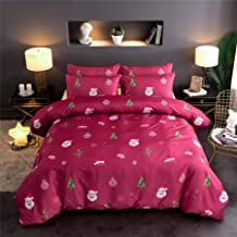 Meeting Story Christmas Bells Deer Tree Print Quilt Cover,Father Christmas in Snowflake for Boys Girls Bedding Duvet Cover Sets(Christmas-Red, Queen(Duvet Cover 90