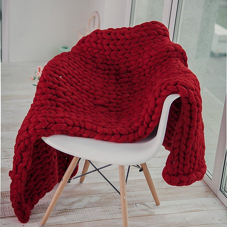 WAWEN Plaid tricoté main en grosse maille, Bordeaux, 3240 inches (80100 cm)