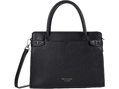 Kate Spade New York Clean Toujours Medium Satchel (Black) Handbags