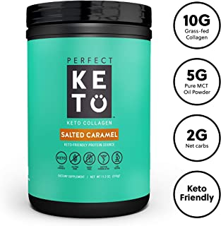Perfect Keto Protein Powder Salted Caramel: Grass Fed Collagen Peptides Low Carb Keto Drink Supplement with MCT Oil Powder. Best as Keto Drink Creamer or Added to Ketogenic Diet Snacks. Gluten Free