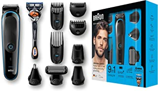 Braun MGK5080 9 En 1Recortadora Todo en Uno, Recortadora Barba y Cortapelos, Negro / Azul