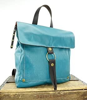 Convertible Backpack Purse in Teal Blue Leather