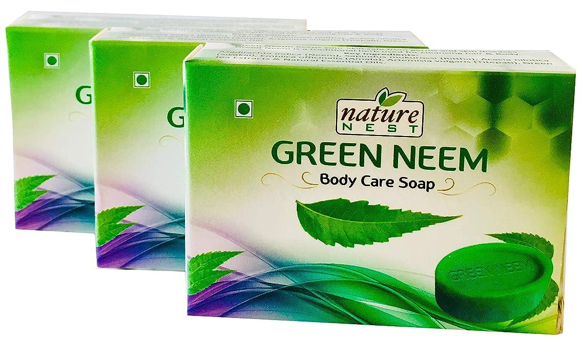 Nature Nest Green Neem Handmade Organic Body Care Soap 3 Bulk Pack 150g Emblica officinalis, Artemisia Vulgaris & Green Tea Extracts Herb Ingredients & Therapeutic Natural Essential Oils
