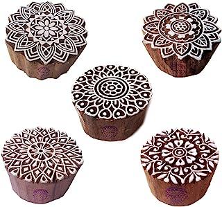 طوابع خشبية دائرية وماندالا مطبوعة على شكل مكعبات فنية (مجموعة من 5)