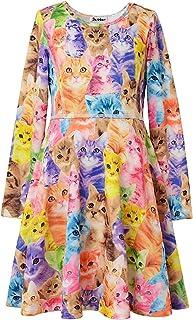 Jxstar Girls Long Sleeve Desss Kid Cat Unicorn Floral Print Outfits