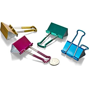 Officemate Easy Grip Binder Clips Metallic Pack of 24 Small