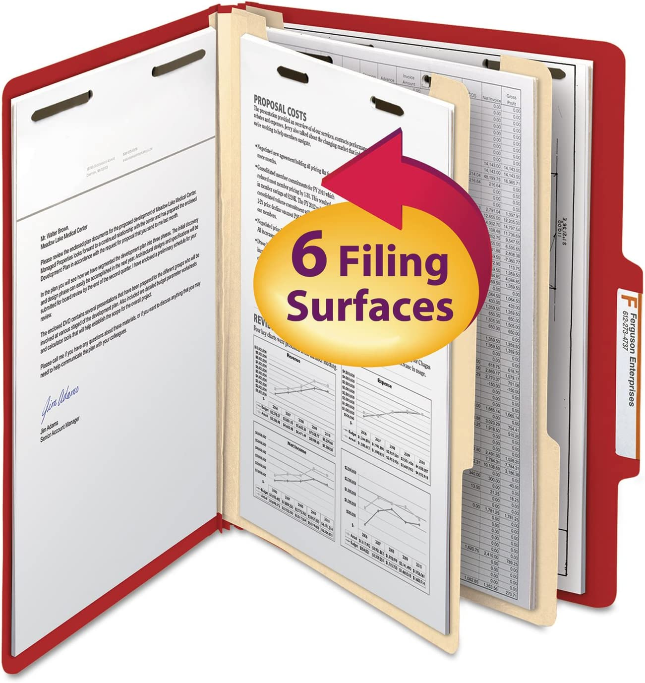 Mail order Smead 14003 Top Tab Outlet SALE Classification Six-Secti Two Dividers Folder