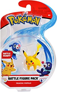 """Pokemon 2 Inch Battle Action Figure 2-Pack, includes 2"""" Pikachu and 2"""" Popplio"""