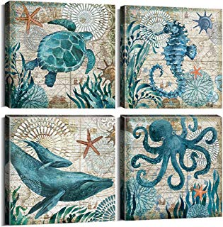 Wall Decor Bathroom Room Decor Canvas Prints Home Wall Art Teal Blue Ocean Theme Sea Animal Marine life Mediterranean Style Framed Pictures Octopus Turtle Seahorse Whale Posters 12 x 12 Inch Set 4Pcs