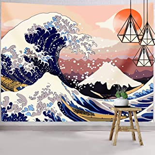 Hexagram Ocean Wave Tapestry, The Great Wave Tapestry, Mount Fuji Tapestry Wall Hanging,..