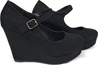 Womens Morris Mary Jane Strappy Buckle Wedge Platform Shoes