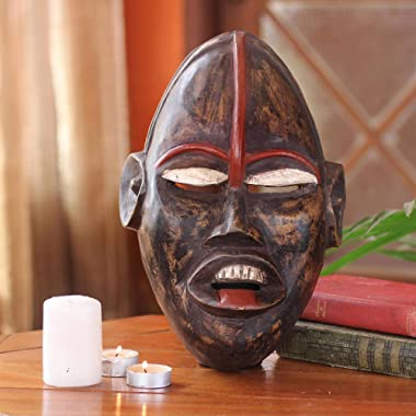 NOVICA Hand Carved Ghanaian Wood Wall Mask, African Ghost'