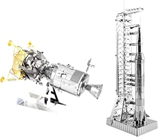 Fascinations メタルアース 3Dメタルモデルキット 2個セット - アポロCSM LMとアポロサターン V ガントリー付き