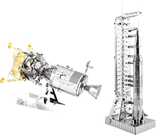 Fascinations Metal Earth 3D Metal Model Kits Set of 2 - Apollo CSM with LM and Apollo Saturn V with Gantry
