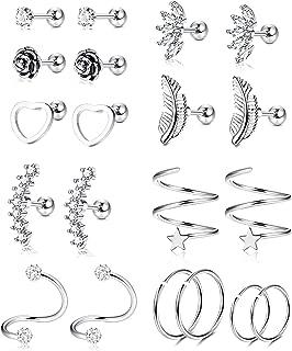 YADOCA 10 Pairs 16G Stainless Steel Ear Cartilage Earrings Tragus Helix Barbell Heart Flower Feather Hoop Earrings Cubic Zirconia Inlaid Cartilage Stud for Men Women