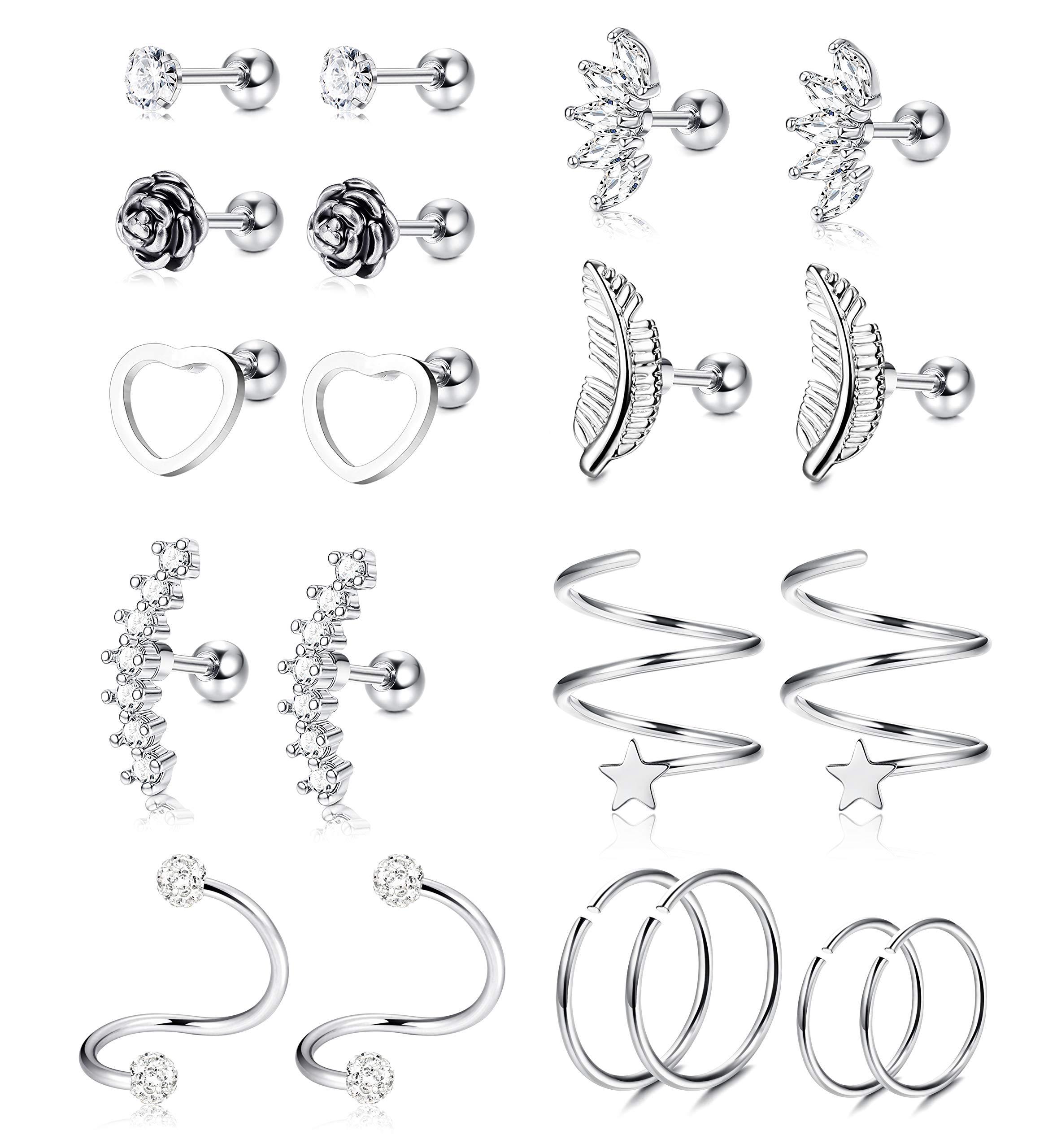 YADOCA Stainless Cartilage Earrings Zirconia