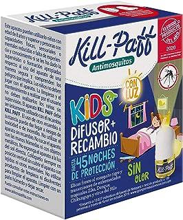 KILL-PAFF KIDS  Insecticida Eléctrico  Antimosquitos  Eficaz Contra Mosquito Tigre y Transmisores de Enfermedades Tropicales  Con Luz  Sin Olor 45 Noches de Protección  Contenido: 1 Dif + 1 Rec