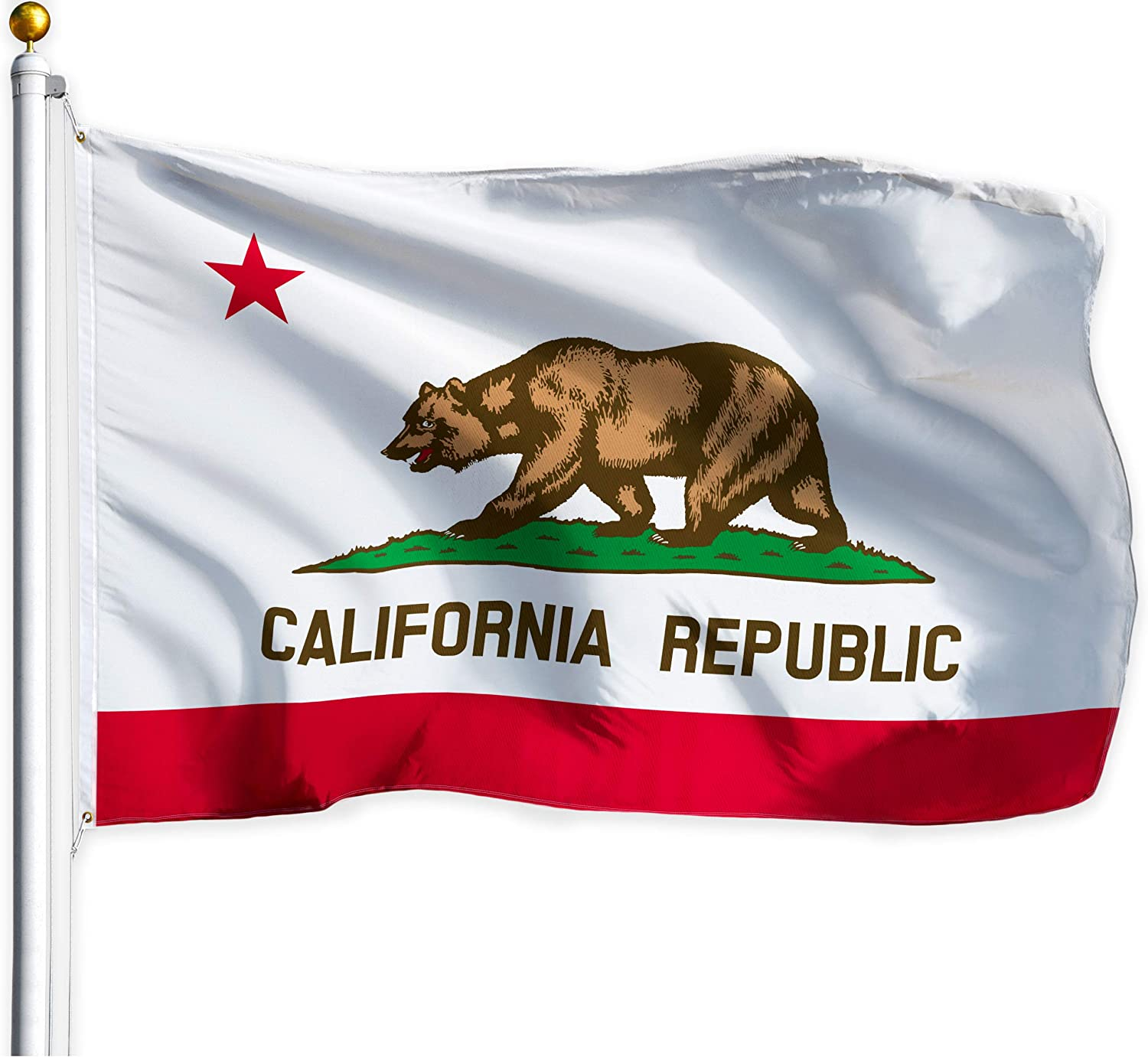 G128 – California State Flag | 3x5 feet | Printed – Vibrant Colors, Brass Grommets, Quality Polyester