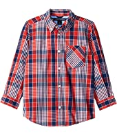 Tommy Hilfiger Kids - Everett Plaid Long Sleeve Woven Shirt (Toddler/Little Kids)