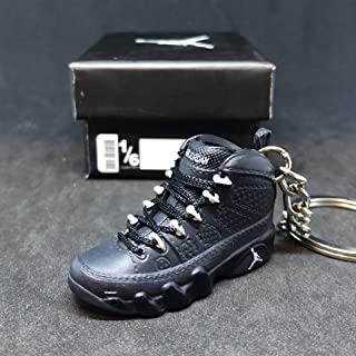 Air Jordan IX 9 Retro Anthracite Black Grey OG Sneakers Shoes 3D Keychain 1:6 Figure + Shoe Box
