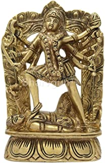 Sharvgun Goddess Kali Idol Brass Statue for Puja at Home Mandir Size: 6.5x4.5x1.5 Inch