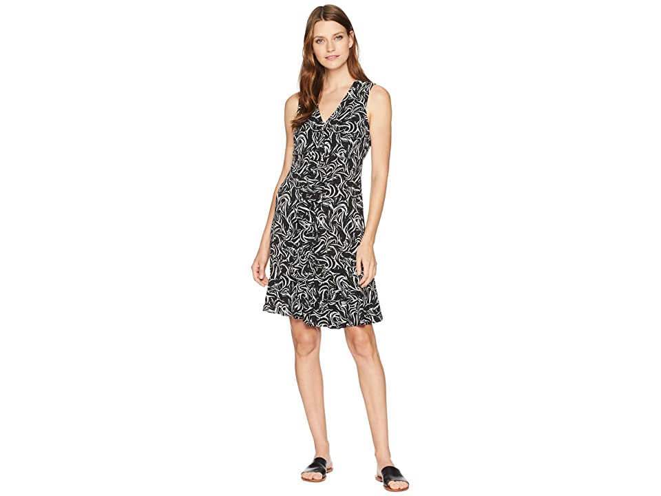 Taylor Ruffle Front Printed Dress (Black/Ivory) Women