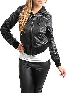 Blousons Veste noir simili cuir style perf bombardier avec