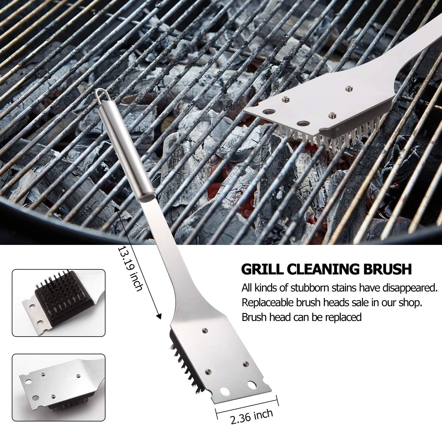 Aladom Grill Cleaning Brush Replacement Head,3PCS BBQ Extra Brush Head,3 Replacement Wire Brush Heads