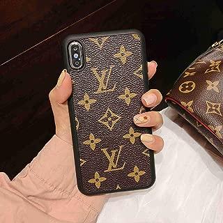 Phone Case for iPhone 7 Plus iPhone 8 Plus, Classic Monogram Vintage Style Elegant Luxury Fashion Designer with Case Cover 7 Plus 8 Plus -Brown