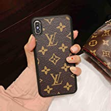 Case for iPhone Xs X, Elegant Luxury Fashion Style Classic Logo Case Cover for iPhone Xs X 10 - Brown