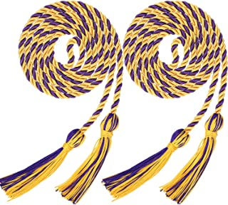 2 Pieces Graduation Cords Polyester Yarn Honor Cord with Tassel for Graduation Students (Gold with Purple)