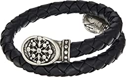 Compass Braided Leather Wrap Bracelet
