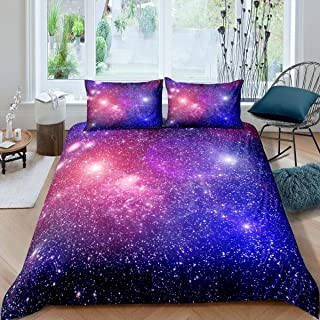 Sky Starry Duvet Cover Purple Galaxy Bedding Set Outer Space Theme Comforter Cover for Kids Boys Girls Room Decor,Mysterio...
