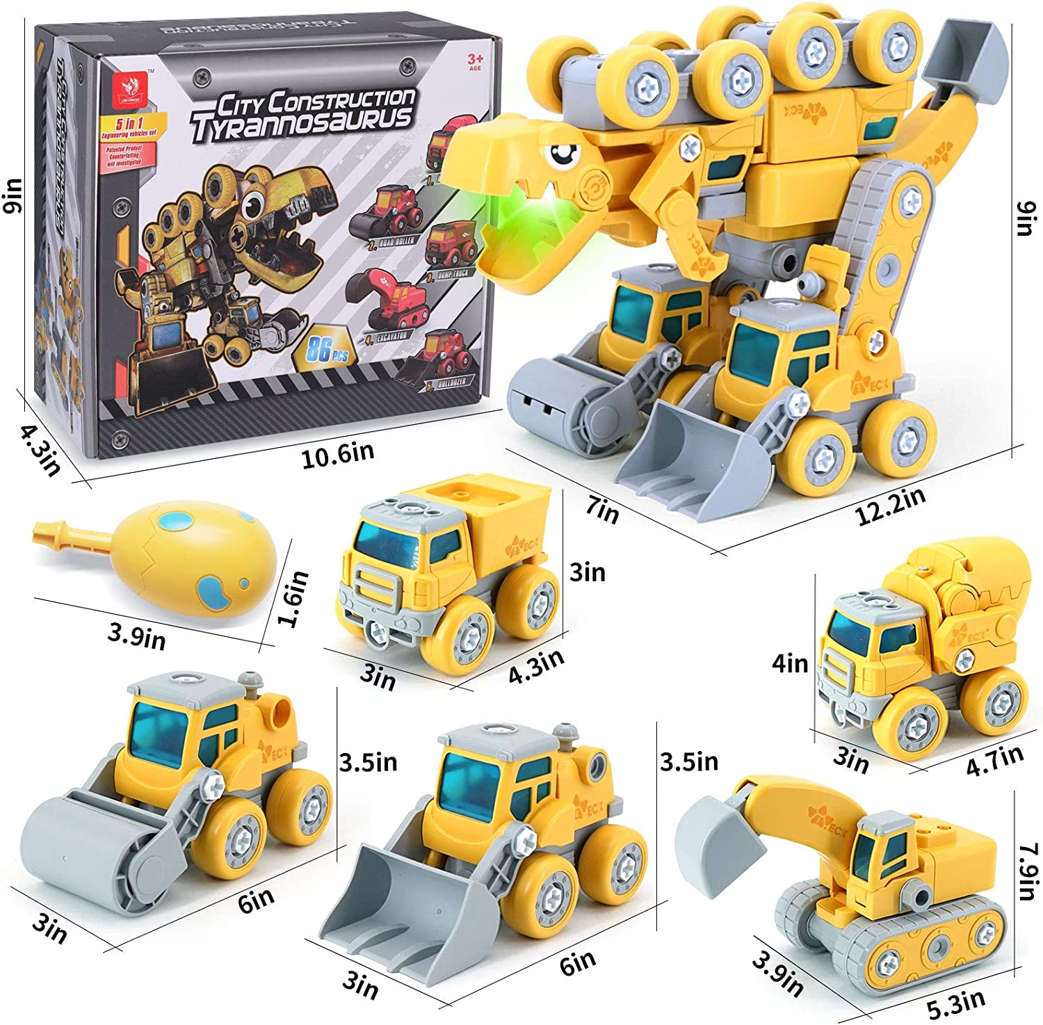 from 5-in-1 Construction Vehicles Dinosaur Toys for Kids 3-5 Take Apart Transform Series for 3 4 5 6 7 8 Year Old Kids Boys /& Girls