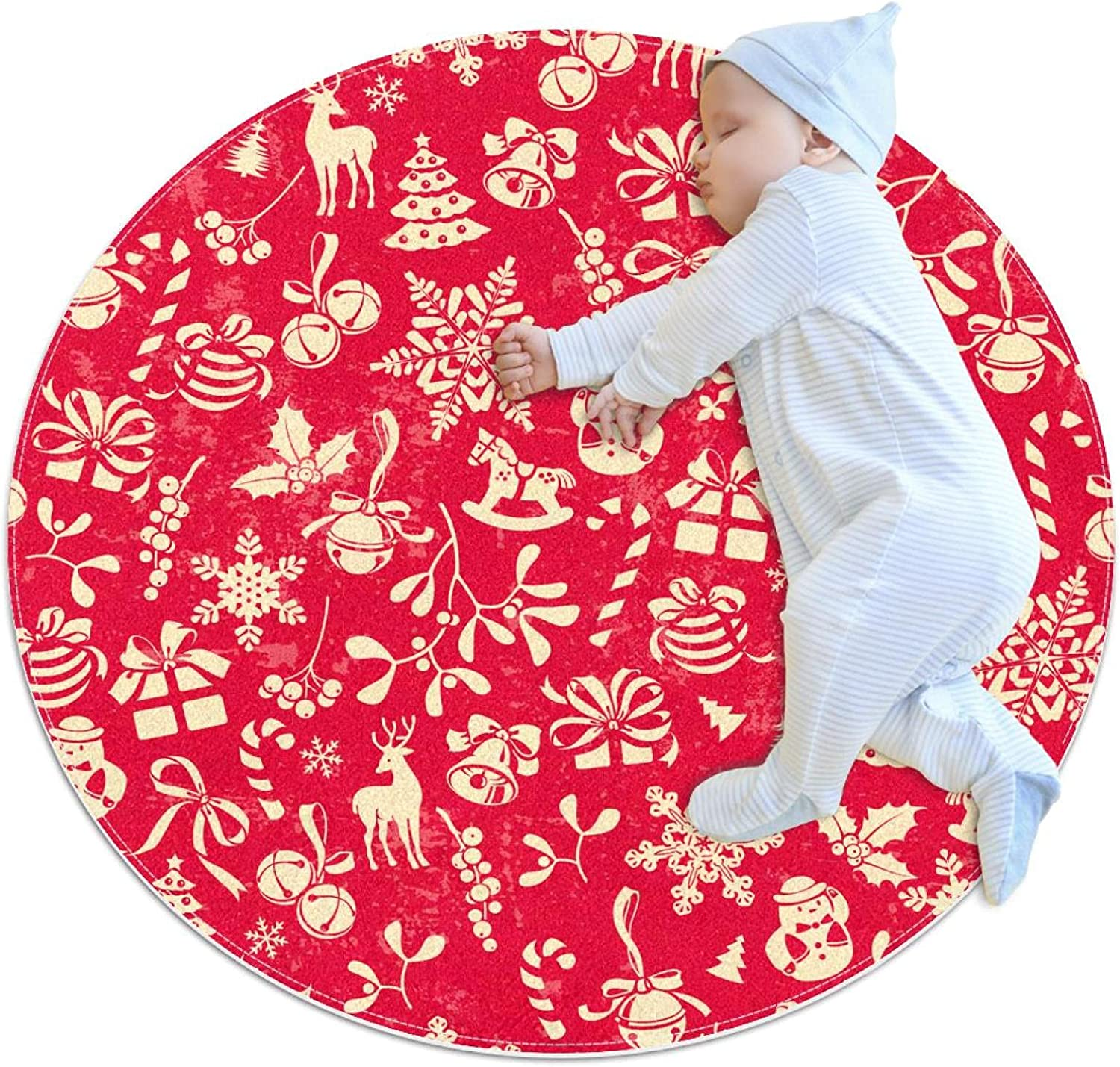 Red Max 85% OFF Christmas Elements Pattern Kids Floor Mat Playmat Max 83% OFF Crawling