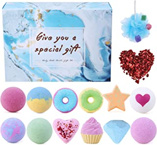 Bath Bombs, Abody 14PCS Bath Bomb Gift Set for Women Kids with Rose Petals and Bath Sponge, Made in Vegan E...