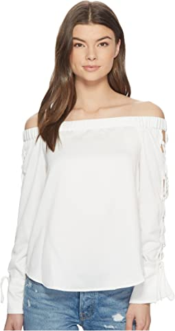 Off Shoulder Blouse w/ Lace-Up Sleeves