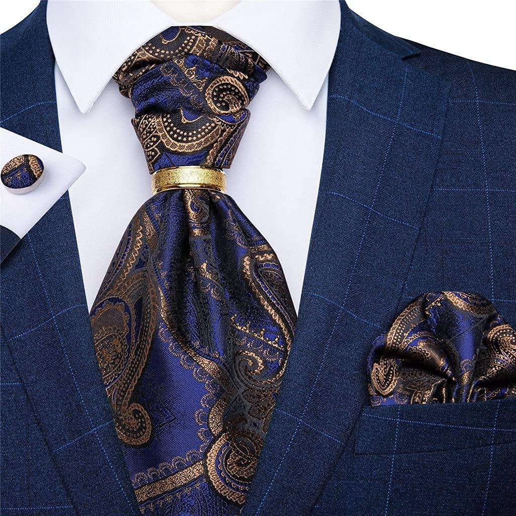 ZHANGQQ Men's tie Suits,Men's tie Men's Vintage Silk Tie Wedding Party Cravat Classic Bussines Gentleman Scarf Ring Set (Color : C, Size : One Size)