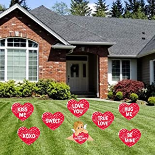 Tifeson Valentine's Day Decorations Outdoor - 8PCS Large Valentines Conversation Hearts Corrugated Yard Signs with Stake - Valentines Yard Lawn Decorations Walkway Decor