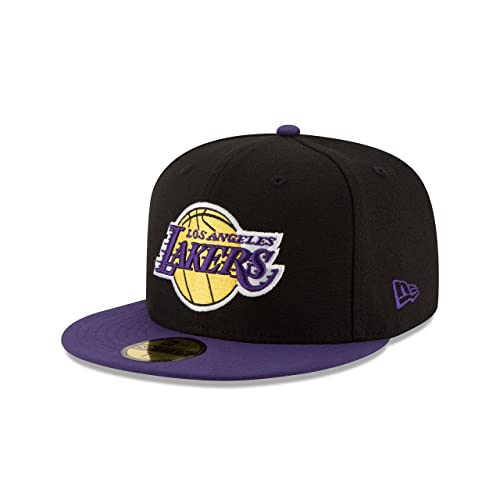 Mens 5950 Basketball Fitted Hat Cap Lakers Purple