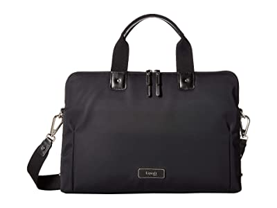 Lipault Paris Business Avenue Slim Laptop Bag (Jet Black) Bags