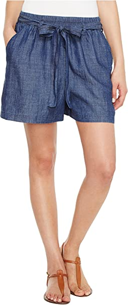 Lucky Brand Tie Front Chambray Shorts in Blue Chambray